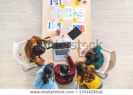 boldog · együtt · dolgozni · iroda · megbeszélés · toll · dolgozik - stock fotó © dolgachov