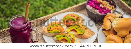 smoothie · bol · ingrédient · alimentaire · rouge · déjeuner - photo stock © galitskaya