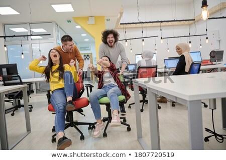 Команды офисные кресла гонка серьезно синий Сток-фото © lichtmeister