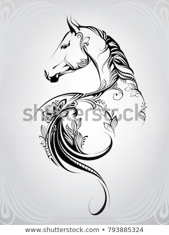 Horse Head Tribal Tattoo Stock photo © patrimonio