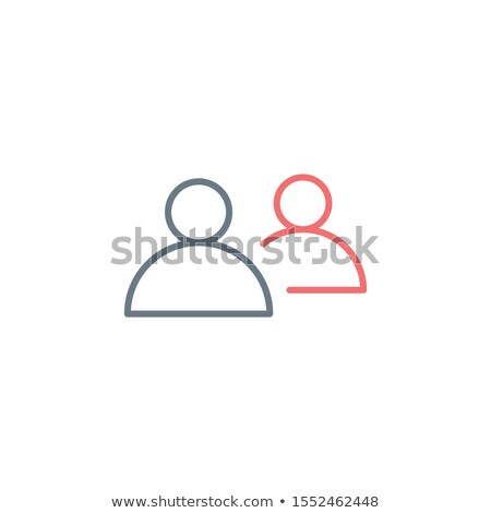 Line icon two people, one behind. Editable stroke. Stock Vector illustration isolated on white backg Stock photo © kyryloff