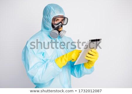 Férfi visel öltöny gázmaszk védőszemüveg ki Stock fotó © feverpitch