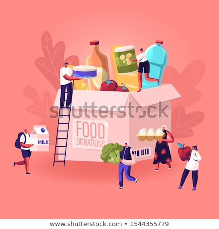 Woman Donating Food Concept Vector Stock photo © THP