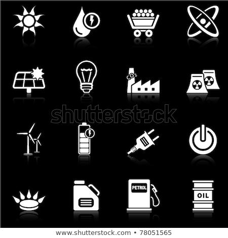 Energia ikonok fekete vektor digitális nyomtatott média Stock fotó © Palsur