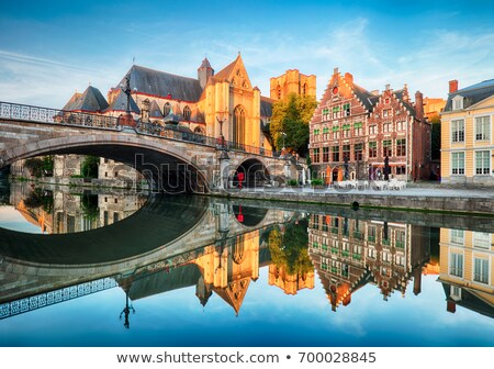 Kanal Belçika seyahat ortaçağ avrupa şehir Stok fotoğraf © dmitry_rukhlenko