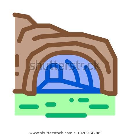 Górskich jaskini ikona wektora ilustracja Zdjęcia stock © pikepicture