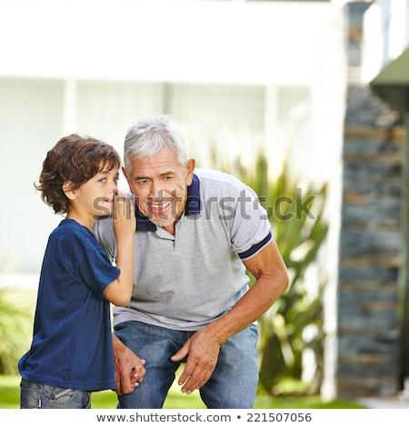 Opa sprechen Enkel Wohnzimmer Haus Arzt Stock foto © AndreyPopov