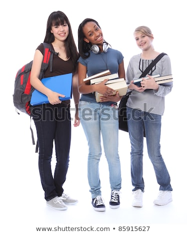 Happy smile from pretty teenager school girl with long brown hai Stock photo © dacasdo
