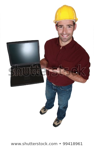 Tradesman showing off his new laptop Stock photo © photography33