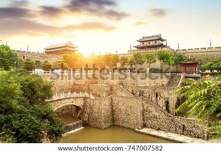 Ancient city wall in Xian China Stock photo © bbbar