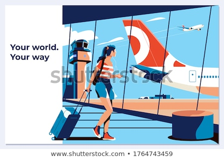 Silhouette of beauty girl in airport with baggage Stock photo © zzve