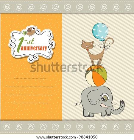 Első évforduló kártya piramis állatok születésnap Stock fotó © balasoiu