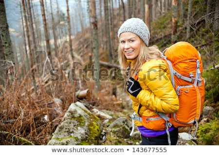 blond woman with camping backpack Stock photo © photography33