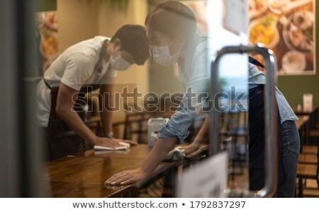 Vendégszeretet munkások nő bor férfi boldog Stock fotó © photography33