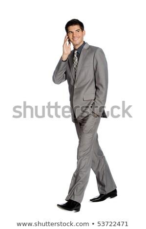 empresário · sms · celular · isolado · branco - foto stock © wavebreak_media
