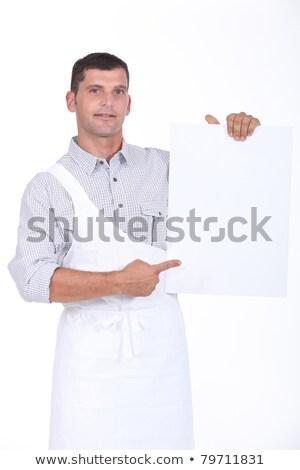 açougueiro · assinar · conselho · espuma · mãos · feliz - foto stock © photography33