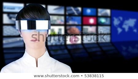 ezüst · futurisztikus · szemüveg · modern · nő · portré · tapéta - stock fotó © lunamarina
