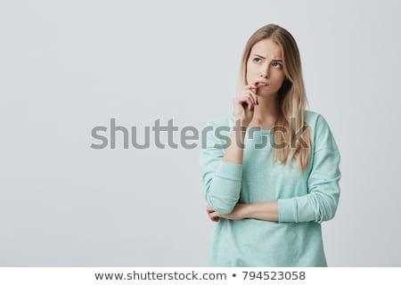 confuso · mulher · abrir · palms · belo · asiático - foto stock © imaster
