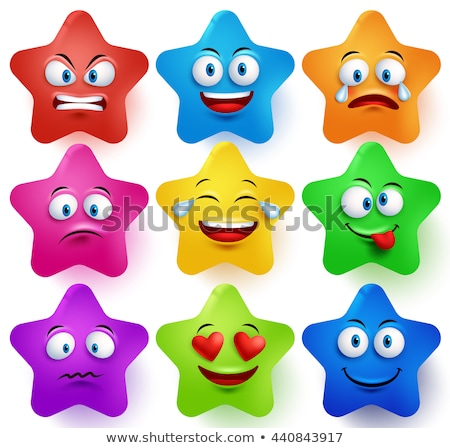 Set of stars with different emotions, happy, sad, smiling icons  Stock photo © elenapro