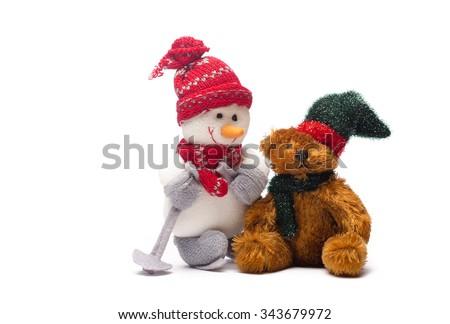 Glimlachend algemeen christmas sneeuwpop speelgoed gelukkig Stockfoto © stevanovicigor