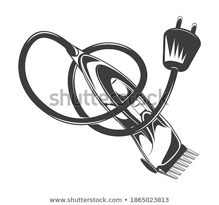 Stock fotó: Klasszikus · elektromos · kábel · ötvenes · évek · fehér · arc