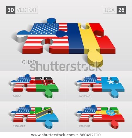 EUA Etiopía banderas rompecabezas vector imagen Foto stock © Istanbul2009
