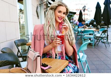 модный блондинка Lady позируют цветочный юбка Сток-фото © PawelSierakowski