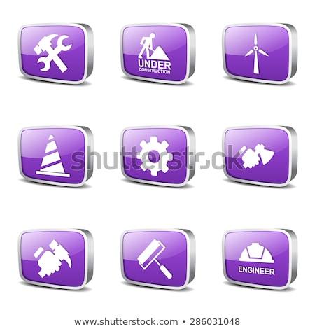 строительство · инструменты · квадратный · вектора · фиолетовый · икона - Сток-фото © rizwanali3d