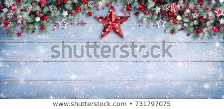 Noël · cadre · sapin · or · rouge - photo stock © -baks-