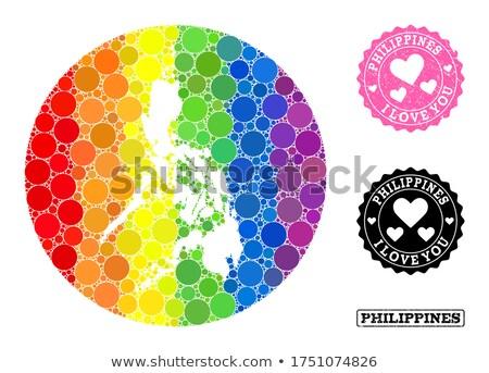 Filipinas homossexual mapa país orgulho bandeira Foto stock © tony4urban
