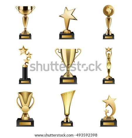 Golden award trophy. Vector illustration Stock photo © huseyinbas
