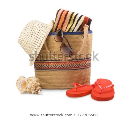 Prendere il sole accessori isolato asciugamano paglietta sole Foto d'archivio © neirfy