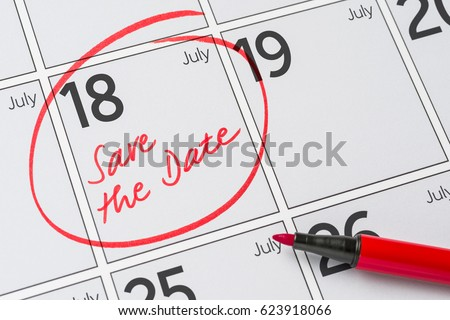 Save the Date written on a calendar - July 18 Stock photo © Zerbor