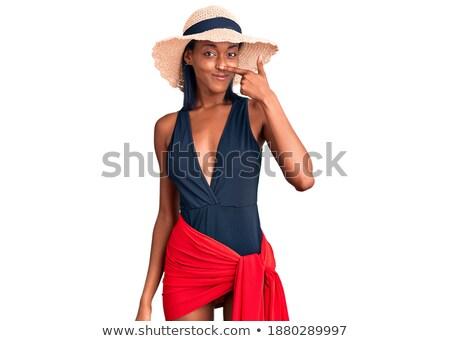 肖像 · 幸せな女の子 · 夏 · 帽子 · ポインティング · 指 - ストックフォト © deandrobot