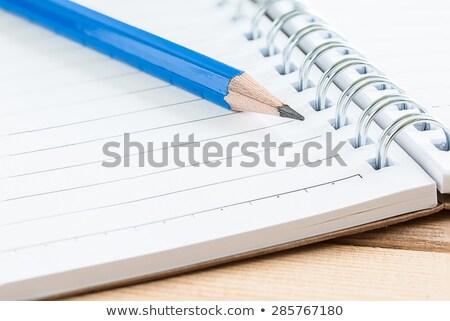 Közelkép ceruza radír nyitva napló fa asztal Stock fotó © wavebreak_media