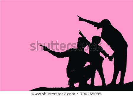 father with boys pointing Stock photo © IS2