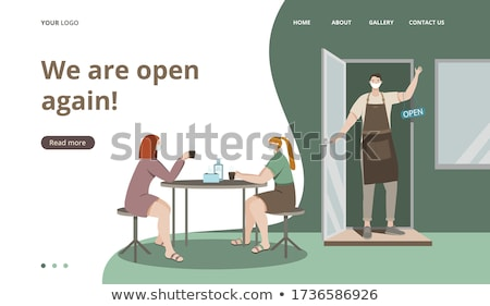 woman in a street cafe after shopping stock photo © is2