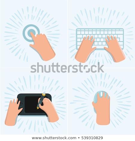 Hand vinger druk web ontwikkeling knop Stockfoto © tashatuvango