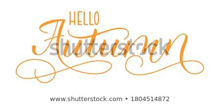 Jesienią kaligrafia tekst odizolowany biały Zdjęcia stock © orensila