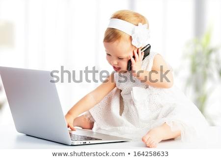 Foto stock: Ordenador · portátil · bebé · femenino · alta · tecnología