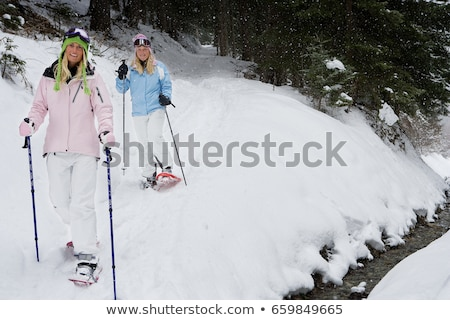 two young blonde women in snow shoes stock photo © is2