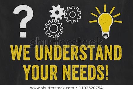 Question Mark, Gears, Light Bulb Concept - We understand your ne Stock photo © Zerbor