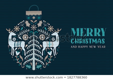 Christmas folk art greeting card with reindeer, flowers, Xmas tree and winter clothes pattern in whi Stock photo © RedKoala