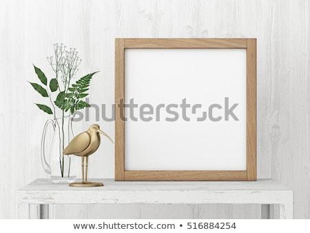 bird on nature wooden frame stock photo © bluering