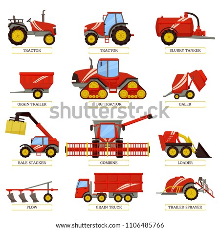 Tractor Trailed Sprayer Set Vector Illustration Stock photo © robuart