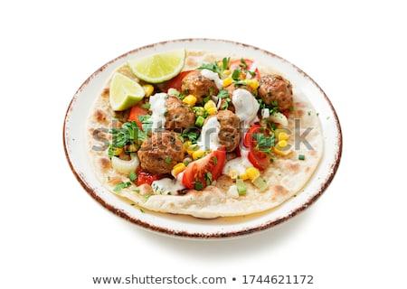 cozinha · italiana · cordeiro · molho · de · tomate · fechar · salada · legumes - foto stock © tycoon