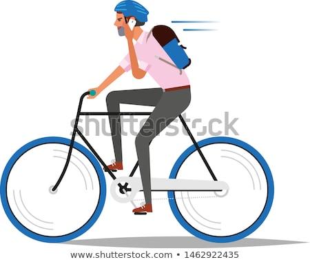 oude · vrouw · fiets · vector · stad · fiets · outdoor - stockfoto © robuart