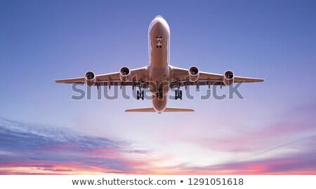 самолета красивой небе белый Восход плоскости Сток-фото © ssuaphoto