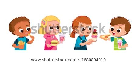 Kicsi fiú eszik falatozó iszik üdítő Stock fotó © colematt