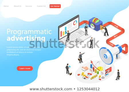 flat isometric vector landing page template of programmatic advertising stock photo © tarikvision